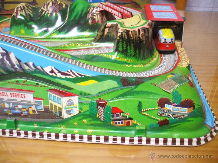 Juguetes antiguos de hojalata: MARKE TECHNOFIX 312 ROCKY MOUNTAINS TRAIN, CIRCUITO DE HOJALATA JUGUETE ALEMAN AÑOS 60 * MUY RARO * - Foto 12 - 53088094