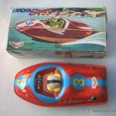 Juguetes antiguos de hojalata: CANOA- BARCO- LANCHA SPORT ROMAN -JUGUETE V-200. Lote 53470383