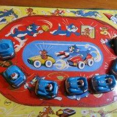 Juguetes antiguos de hojalata: RARISIMO JUGUETE HOJALATA PASCUAL Y VALLS S.A COLECCION TOM Y JERRY VA COCHES CHOQUE. Lote 74484733