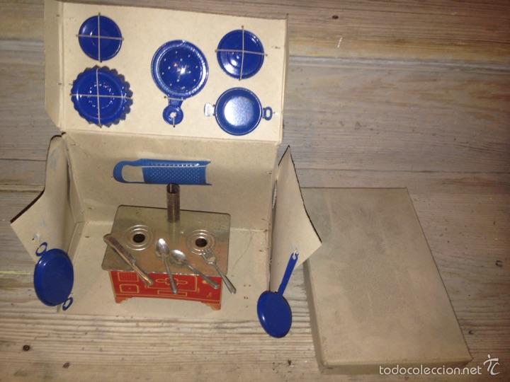 Juguetes antiguos de hojalata: Cocina chapa paya-rico 1940 - Foto 2 - 54683041