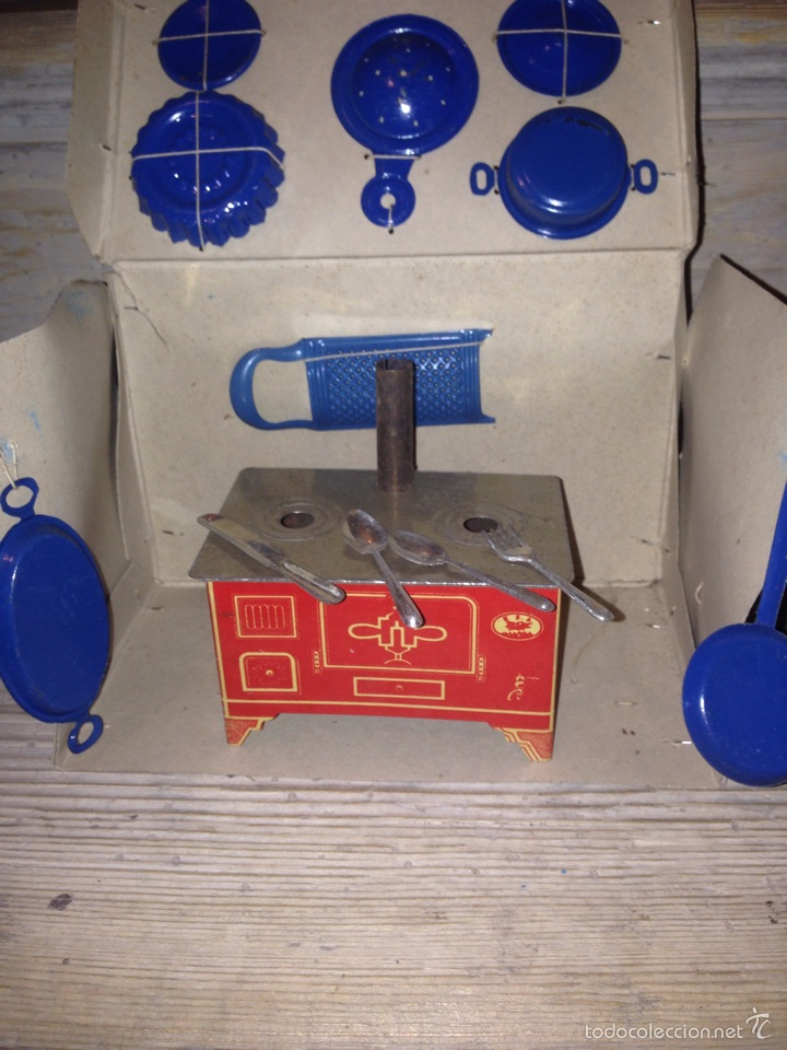 Juguetes antiguos de hojalata: Cocina chapa paya-rico 1940 - Foto 3 - 54683041