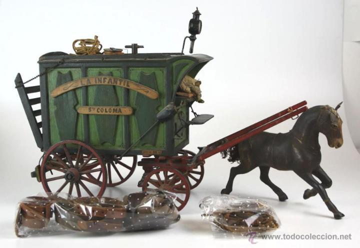 PIEZA DE MUSEO - CARRUAJE DE GANADO - LA INFANTIL - SANTA COLOMA - BARCELONA - SIGLO XIX (Juguetes - Juguetes Antiguos de Hojalata Españoles)