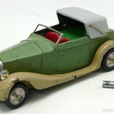 Juguetes antiguos de hojalata: AUTOMÓVIL DESCAPOTABLE MINIC TOYS MADE IN ENGLAND HOJALATA A CUERDA FUNCIONA . Lote 56503971