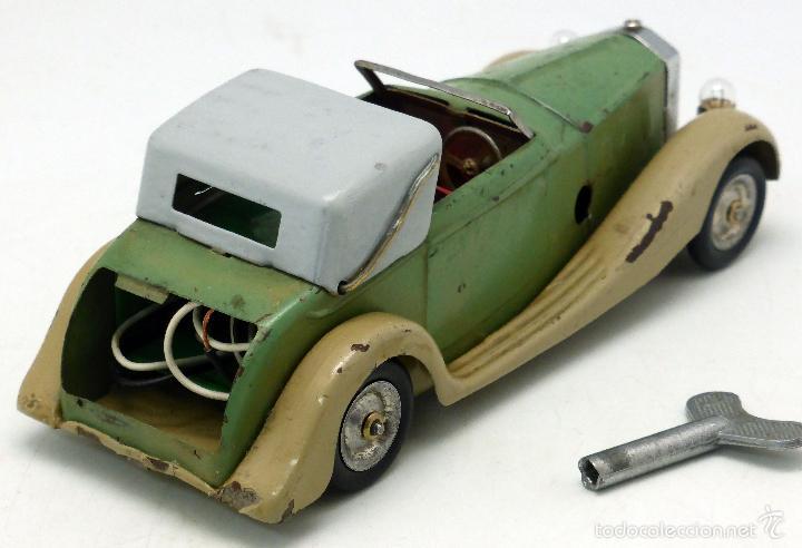 Juguetes antiguos de hojalata: Automóvil descapotable Minic Toys Made in England hojalata a cuerda Funciona - Foto 3 - 56503971
