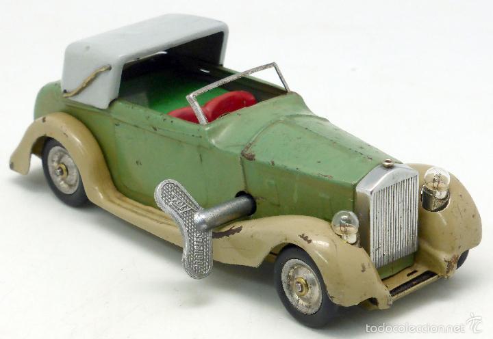 Juguetes antiguos de hojalata: Automóvil descapotable Minic Toys Made in England hojalata a cuerda Funciona - Foto 4 - 56503971