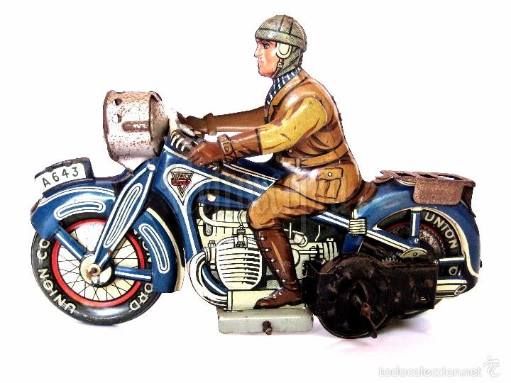 MOTO MOTOCICLETA DE HOJALATA ARNOLD A 643 A CUERDA. ALEMANIA AÑOS 30 ORIGINAL (Juguetes - Juguetes Antiguos de Hojalata Extranjeros)