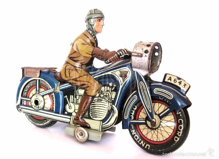 Juguetes antiguos de hojalata: MOTO MOTOCICLETA DE HOJALATA ARNOLD A 643 A CUERDA. ALEMANIA AÑOS 30 ORIGINAL - Foto 3 - 56964572