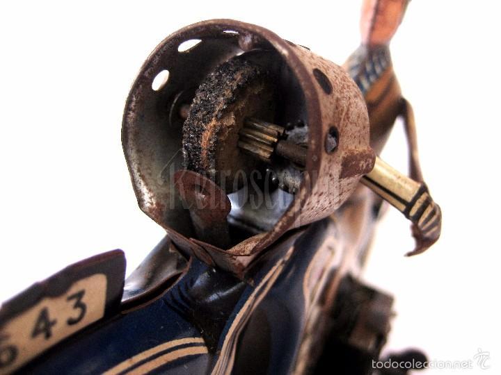 Juguetes antiguos de hojalata: MOTO MOTOCICLETA DE HOJALATA ARNOLD A 643 A CUERDA. ALEMANIA AÑOS 30 ORIGINAL - Foto 7 - 56964572