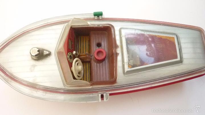 Juguetes antiguos de hojalata: Antigua lancha SCHUCO DELFINO. Original. Falta la hélice. Por lo demás COMPLETA. Sin caja - Foto 3 - 57394134