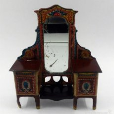 Altes Blechspielzeug - Mueble Tocador modernista con espejo fabricado en hojalata litografiada marca RICO años 30 - 57747794