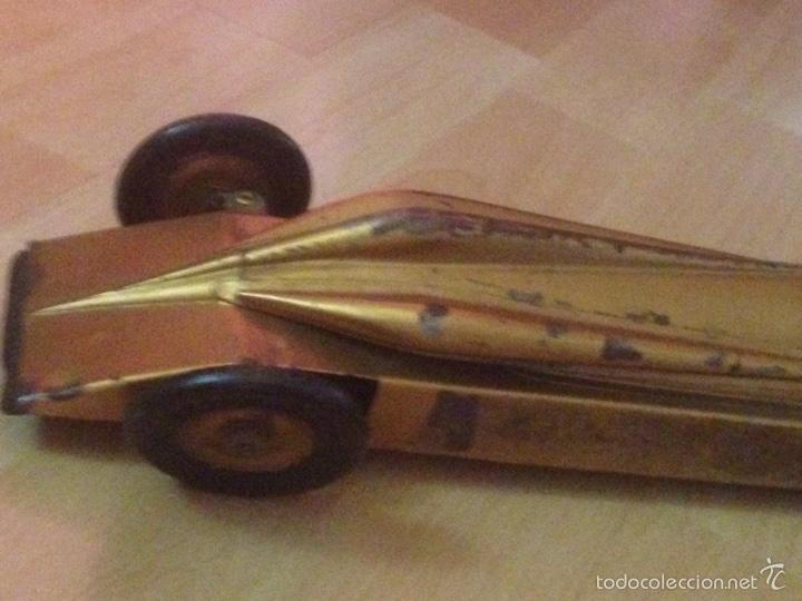 Juguetes antiguos de hojalata: Antiguo coche de hojalata a cuerda golden arrow flecha de oro.mide 50 cm - Foto 5 - 58437282