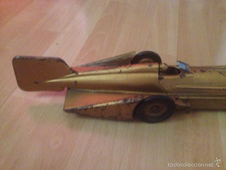 Juguetes antiguos de hojalata: Antiguo coche de hojalata a cuerda golden arrow flecha de oro.mide 50 cm - Foto 7 - 58437282