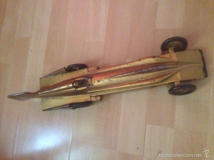 Juguetes antiguos de hojalata: Antiguo coche de hojalata a cuerda golden arrow flecha de oro.mide 50 cm - Foto 8 - 58437282
