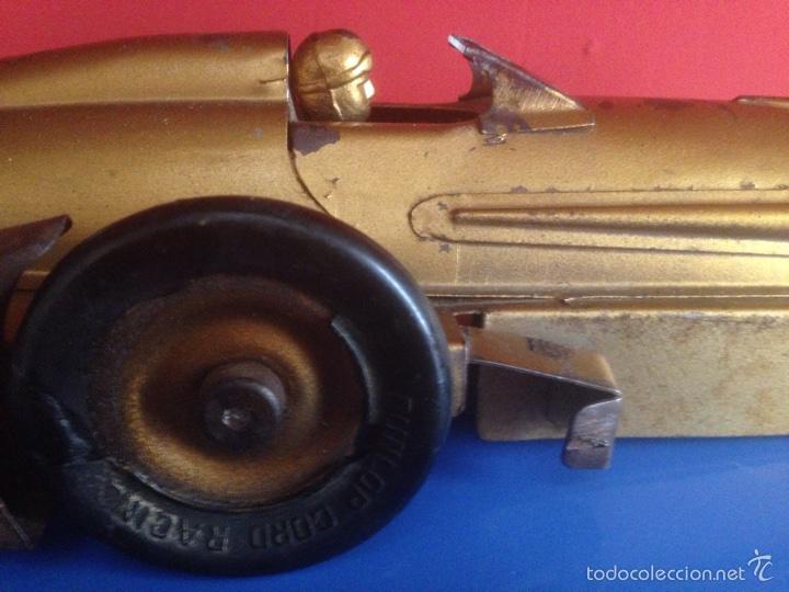 Juguetes antiguos de hojalata: Antiguo coche de hojalata a cuerda golden arrow flecha de oro.mide 50 cm - Foto 9 - 58437282