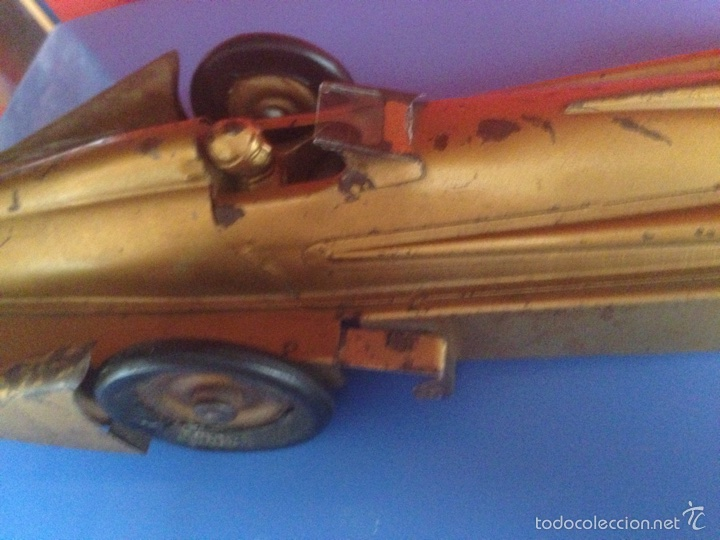 Juguetes antiguos de hojalata: Antiguo coche de hojalata a cuerda golden arrow flecha de oro.mide 50 cm - Foto 10 - 58437282