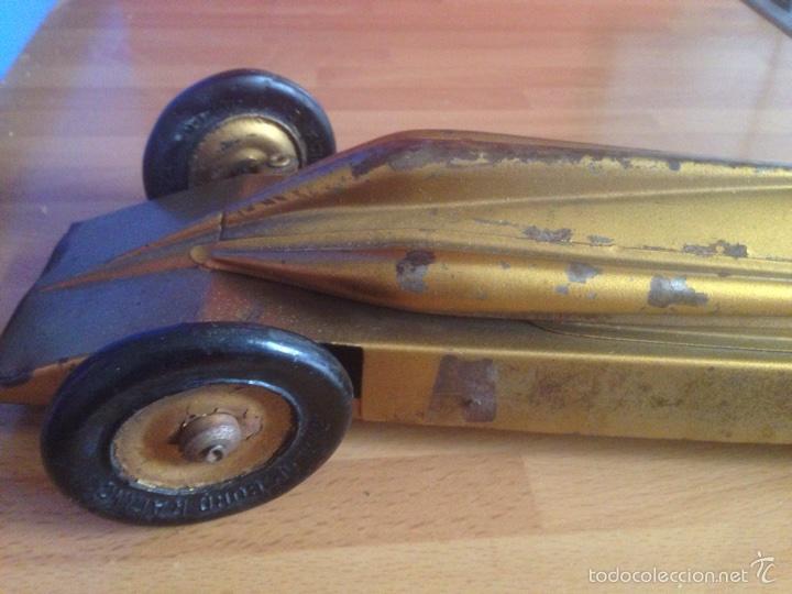 Juguetes antiguos de hojalata: Antiguo coche de hojalata a cuerda golden arrow flecha de oro.mide 50 cm - Foto 15 - 58437282