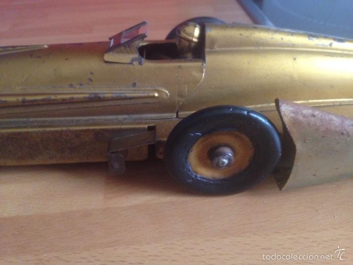 Juguetes antiguos de hojalata: Antiguo coche de hojalata a cuerda golden arrow flecha de oro.mide 50 cm - Foto 16 - 58437282