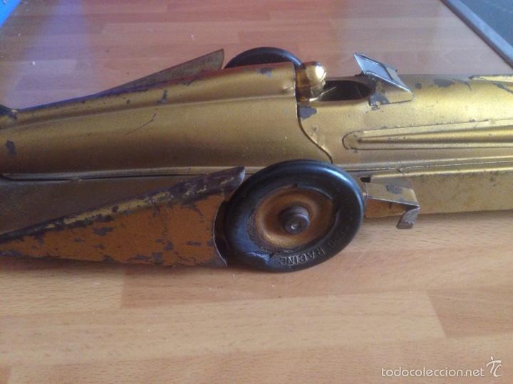 Juguetes antiguos de hojalata: Antiguo coche de hojalata a cuerda golden arrow flecha de oro.mide 50 cm - Foto 18 - 58437282
