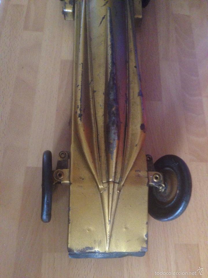 Juguetes antiguos de hojalata: Antiguo coche de hojalata a cuerda golden arrow flecha de oro.mide 50 cm - Foto 24 - 58437282