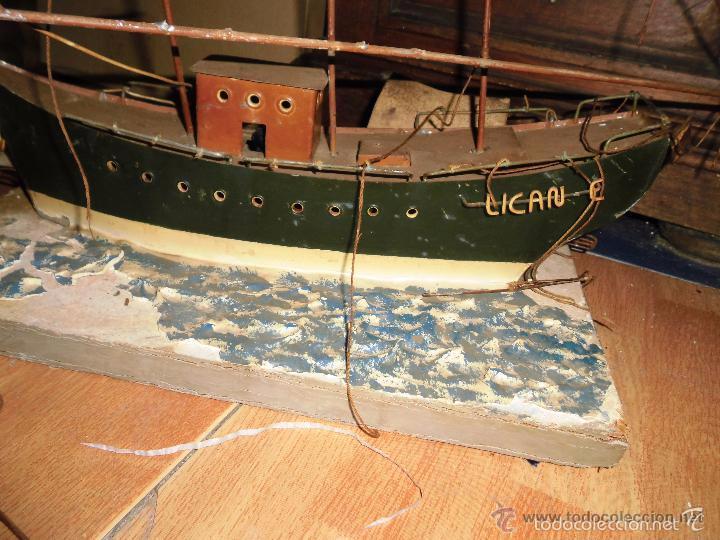 Juguetes antiguos de hojalata: antiguo barco GRANDE alicante de chapa hojalata Y MADERA Juguete antiguo por restaurar - Foto 2 - 52741543