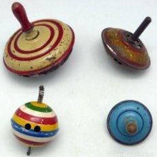 Juguetes antiguos de hojalata: 4 TROMPO PEONZA RICO PAYÁ HOJALATA AÑOS 30 - 40. Lote 69263301