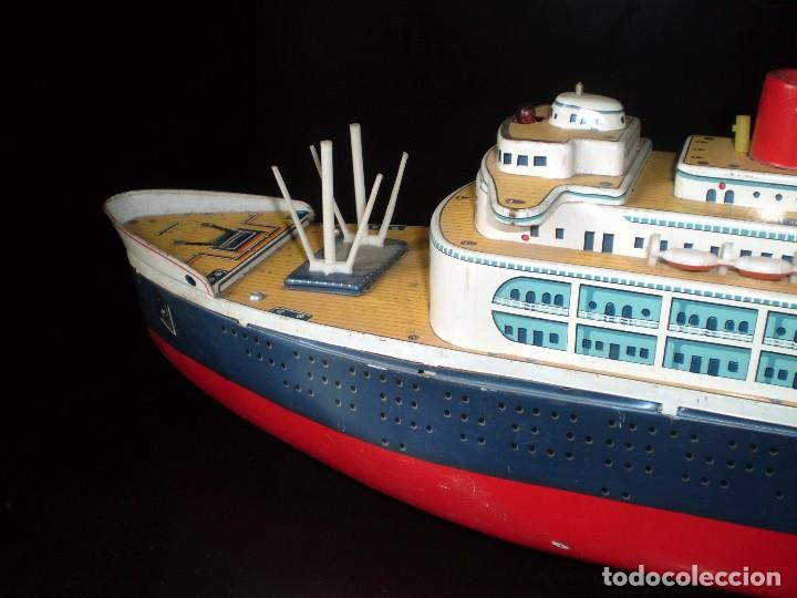 Juguetes antiguos de hojalata: Trasatlántico Modern Toys. Japan. 1950-60. Difícil. - Foto 7 - 70503501