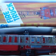 Juguetes antiguos de hojalata: CAMIÓN BOMBEROS DE HOJALATA FIRE TRUCK NUEVO. AÑOS 70-80.FRICCIÓN, SIRENA, ELEVA ESCALERA.. Lote 76789395