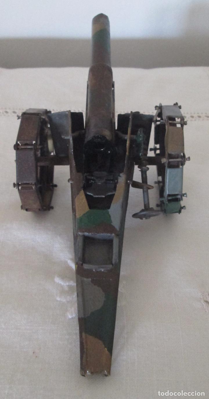 Juguetes antiguos de hojalata: Cañon militar en hojalata pintado a mano de camuflaje - Foto 3 - 76808923