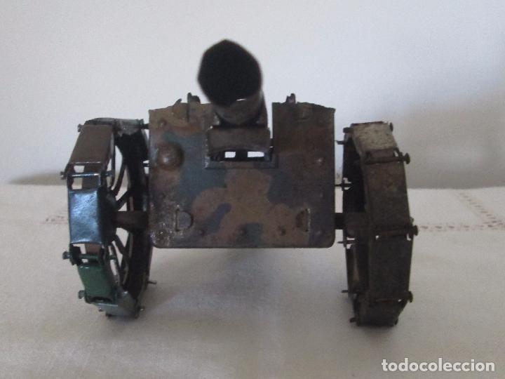 Juguetes antiguos de hojalata: Cañon militar en hojalata pintado a mano de camuflaje - Foto 4 - 76808923