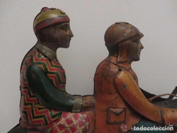 Juguetes antiguos de hojalata: MOTO RICO DE HOJALATA AÑOS 30-UNICA EN TODO COLECCION- - Foto 2 - 76971229