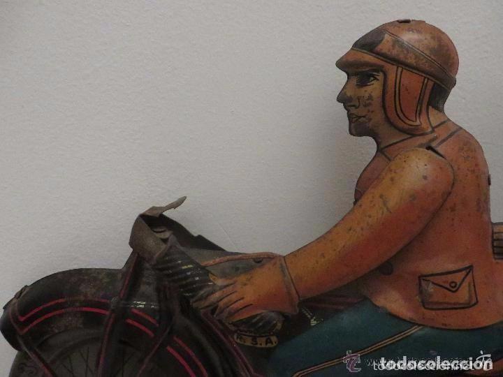 Juguetes antiguos de hojalata: MOTO RICO DE HOJALATA AÑOS 30-UNICA EN TODO COLECCION- - Foto 3 - 76971229