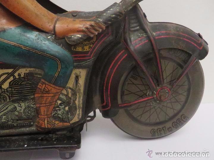Juguetes antiguos de hojalata: MOTO RICO DE HOJALATA AÑOS 30-UNICA EN TODO COLECCION- - Foto 5 - 76971229