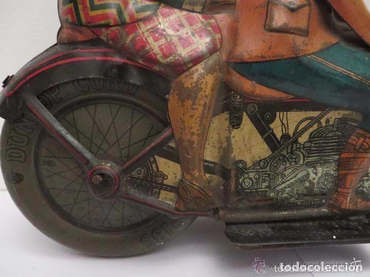 Juguetes antiguos de hojalata: MOTO RICO DE HOJALATA AÑOS 30-UNICA EN TODO COLECCION- - Foto 6 - 76971229