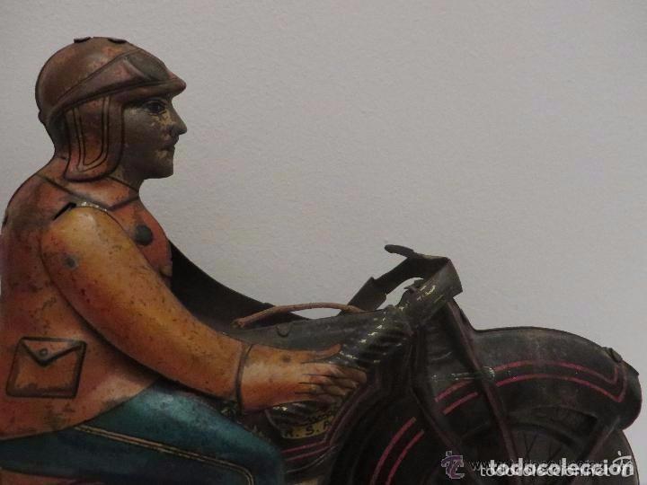 Juguetes antiguos de hojalata: MOTO RICO DE HOJALATA AÑOS 30-UNICA EN TODO COLECCION- - Foto 7 - 76971229