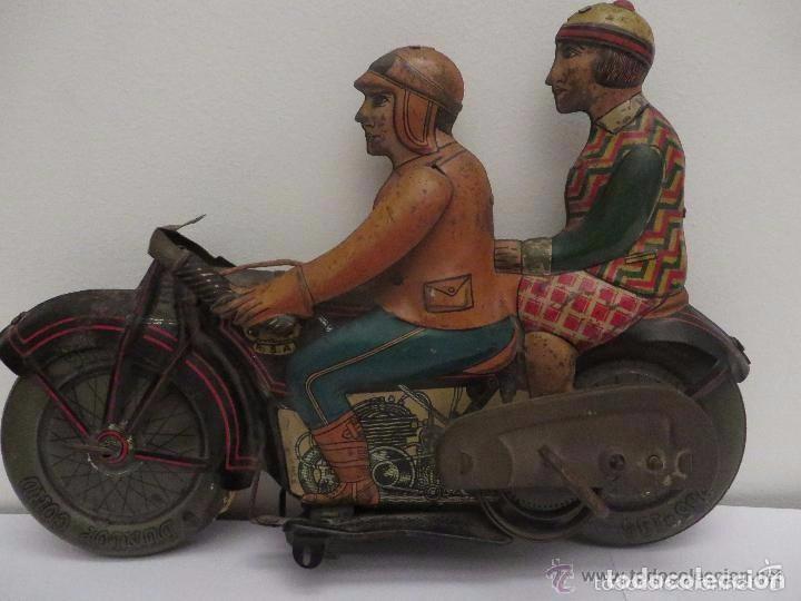Juguetes antiguos de hojalata: MOTO RICO DE HOJALATA AÑOS 30-UNICA EN TODO COLECCION- - Foto 12 - 76971229