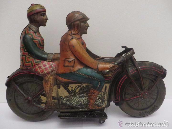Juguetes antiguos de hojalata: MOTO RICO DE HOJALATA AÑOS 30-UNICA EN TODO COLECCION- - Foto 13 - 76971229