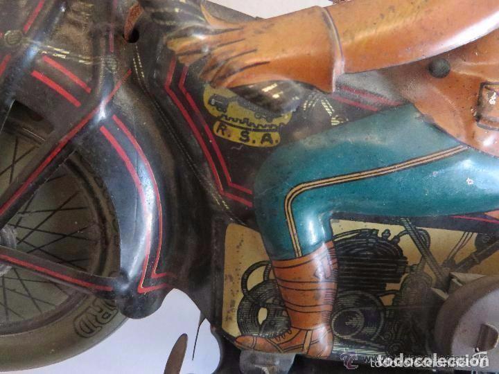Juguetes antiguos de hojalata: MOTO RICO DE HOJALATA AÑOS 30-UNICA EN TODO COLECCION- - Foto 15 - 76971229