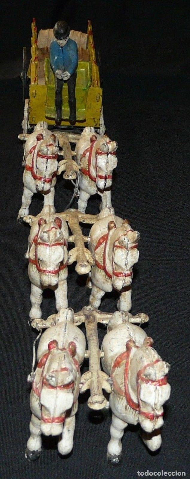Juguetes antiguos de hojalata: ENORME Y ANTIGUO CARRO EN HIERRO DE MUSEO 6 CABALLOS 65 CM 3,5 Kg PRECIOSA ESCULTURA SIGLO XIX 476,0 - Foto 5 - 88403960