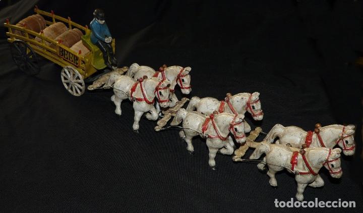 Juguetes antiguos de hojalata: ENORME Y ANTIGUO CARRO EN HIERRO DE MUSEO 6 CABALLOS 65 CM 3,5 Kg PRECIOSA ESCULTURA SIGLO XIX 476,0 - Foto 6 - 88403960