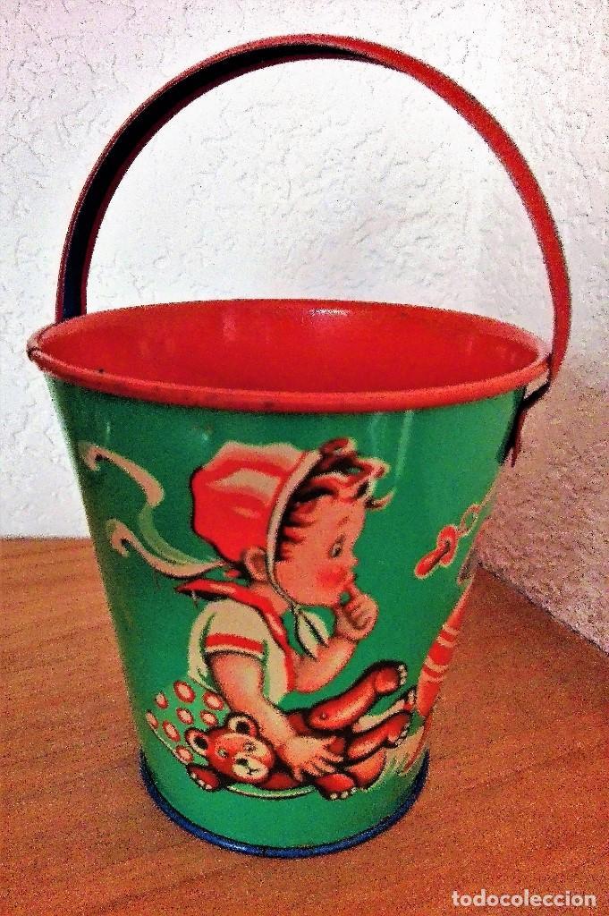 Juguetes antiguos de hojalata: Antiguo cubo de hojalata litografiada sin estrenar Made in Western Germany - Foto 3 - 88802888