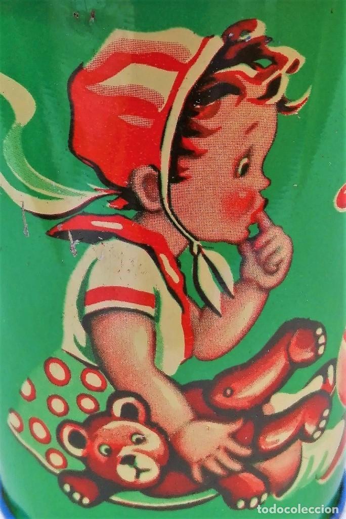 Juguetes antiguos de hojalata: Antiguo cubo de hojalata litografiada sin estrenar Made in Western Germany - Foto 5 - 88802888