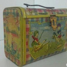 Juguetes antiguos de hojalata: ANTIGUO CABAS DE HOJALATA LITOGRAFIADA DE RICO. Lote 90523322