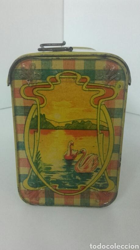 Juguetes antiguos de hojalata: Antiguo CABAS DE HOJALATA LITOGRAFIADA DE RICO - Foto 4 - 90523322