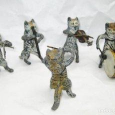 Juguetes antiguos de hojalata: DE MUSEO, GEORGE HEYDE, 1907 , DRESDEN ORQUESTA MUSICOS ESTAÑO GATOS. Lote 91228450