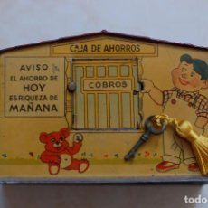 Juguetes antiguos de hojalata: ANTIGUA HUCHA DE AHORROS EN HOJALATA. Lote 91750025