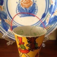 Juguetes antiguos de hojalata: CUBO DE HOJALATA ANTIGUO TIPO PAYA,RICO,JYESA. Lote 93080483