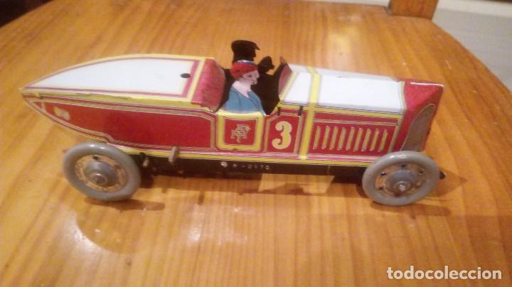 Juguetes antiguos de hojalata: Coche de carreras paya autentico reproduccion en serie numerada 22 cm largo - Foto 2 - 94409218