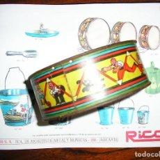 Juguetes antiguos de hojalata: TAMBOR LITOGRAFIADO DE RICO. NUMERO 302 DEL CATALOGO. 11 CM DE DIAMETRO. Lote 111492658