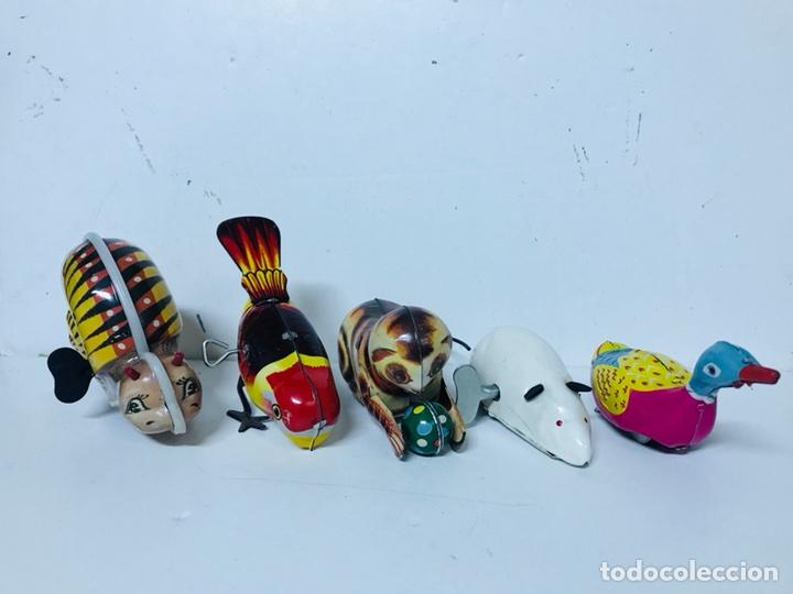 LOTE DE 5 ANIMALES JUGUETE HOJALATA A CUERDA (Juguetes - Juguetes Antiguos de Hojalata Extranjeros)