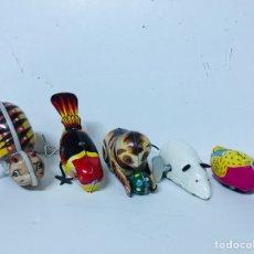 Juguetes antiguos de hojalata: LOTE DE 5 ANIMALES JUGUETE HOJALATA A CUERDA. Lote 98895335
